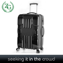 2015 large stock black abs/pc trolley luggage sets 4 universal wheels spinner