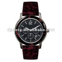 Romanson Men 18K GP Blk. Leather Band Watch