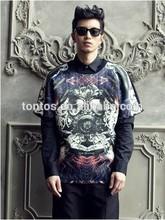 2014 hot sale black cheap popular oem sublimation printed men t-shirts