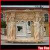 Western Pillar Marble Column Carved Fireplace Mantel
