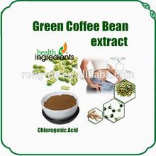 Pura grão de café verde extrato contém 50% de ácido clorogênico, cápsulas vegetais