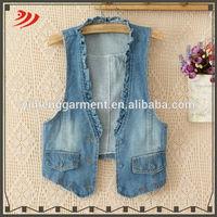 Ladies sleeveless wholesale long jean vest