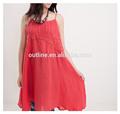 Red spaghetti cinta de algodão applique praia vestidos atacado para senhoras