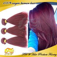 Wholesale Virgin Brazilian Straight Human Hair Extensions Color 99j Hair Weave