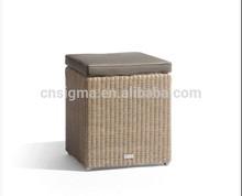 2014 Hot Sale Outdoor Garden Designed Brown rattan soft footstool