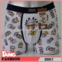 8867 Cartoon Plain Cotton Tight Sexy Men Boxer Shorts