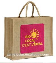 2015 Durable Large Hemp Material Tote Jute shopping bag Wholesale