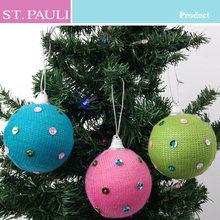 3inch 2014 hot sale knitting handmade christmas ball tree decoration