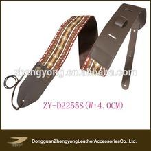Custom unique design leather part guitar strap
