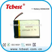 High quality 3.7v 1200mah rechargeable li-polymer battery