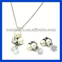 popular wholesale 2014 Silver Color Crystal Pearl Pendant and Earring Settings TPSS116#