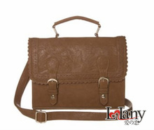 Lelany special brown leather handbags 2015 with semicircular edge and flower lining for women