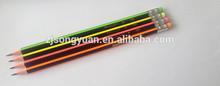 neon triangle HB stripe pencil with eraser