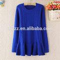 2014 novo inverno mulher personalizado camisola de malha de lã poncho manga longa de cor azul