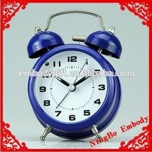 simple design mini classic bright blue metal desktop retro small alarm clock