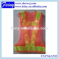 2014 New Style 16 LED Lights Flashing Safety Reflective Vest