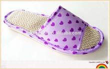 2015 heart print soft woven straw slippers women