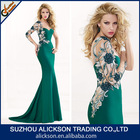 Ali-009 2014 New Sex One Shoulder Mermaid Evening Dress With Long Sleeve Backless Patten