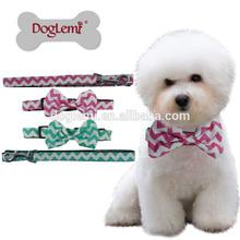 Fashion Chevron Bow Nylon Pet Dog Puppy Collar and Leash set dog nylon collar dog leash