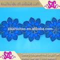 X0771( 1.5) venta caliente cuerda hueso exquisito de organza bordado hecho a mano de flores 6.2'' cordón de cuero