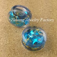 Clear Acrylic Snow Globe Liquid Glitter Star and Heart Ear Plugs Flesh Tunnels Gauges
