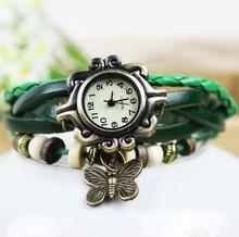 Wrist Watch Retro Butterfly Pendant Leather Strap Watch Retro watch