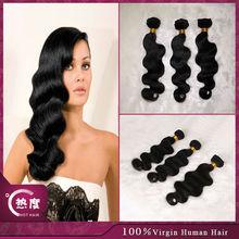No tangle !!! color 1b body wave double weft virgin brazilian hair in guangzhou