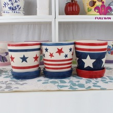 American National Flag Pattern Ceramic Plante Flower Pots w/attached saucer