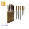 Kitchen knife and utensil set in wooden holder