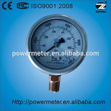 63mm bottom wika type liquid filled bourdon tube 700bar high lpg pressure gauge