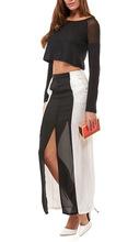 2014 100% polyester latest fashion designer ladies long skirt