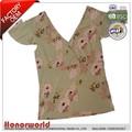 100% poliéster grosso floral impresso camiseta/100% poliéster floral impressão camisa para mulheres