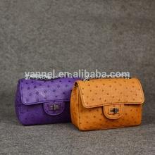 Genuine Ostrich mini cross body bag- lady ostrich leather bag_exotic handbag