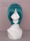 cospaly wig, mixture of blue and green face enclosed short hair