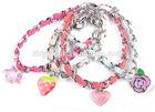 2014 Fashion Fancy Charm Strawberry Flower Heart Leather Bracelet