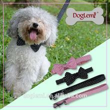 Polka Dots Bow Puppy Pet Dog Cat Collar and Leash set Nylon dog collar leash