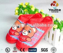 YL9569 2014 Fashion Red Fleece Bear Love Home Slipper