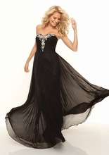 Contracted Beaded Sweetheart Strapless Floor Length Chiffon Custom Made Prom Dress