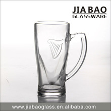Factory promotion 365ml Glass Beer Mug with Logo Design