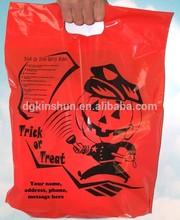 Die cut handle orange halloween plastic bags with officer