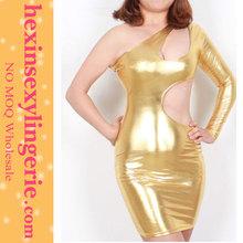 Wholesale 2014 custom mid sleeves gold bandage dress