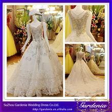 2014 Hot Sale Luxurious Ball Gown Organza Layered Skirt Heavily Crystal Beaded Saudi Arabian Wedding Dress (ZX731)