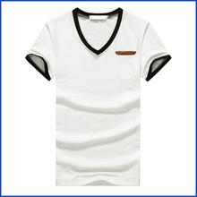 Manufacturer OEM High quality plain and 100% cotton short slleve v-neck t-shirts mens