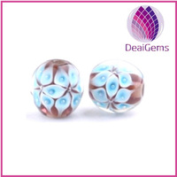 Mixed color sterling silver big single hole murano glass beads