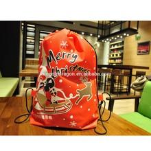 Christmas Organic Cotton Custom Drawstring Bag