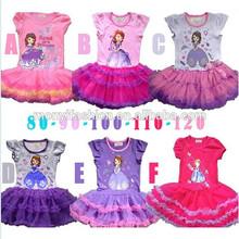 girls sofia princess dress kids cotton baby dress kids clothes