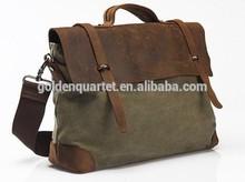 canvas leather shoulder bag/ Messenger bag / briefcase business casual bag