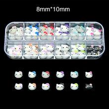 BRK 60pcs/Box new resin bow hello kitty head 3D Nail Decorator