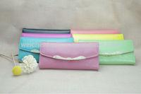 Vintage candy color pu custom emboss logo envelope wallet , woman's clip purse envelop travel wallet