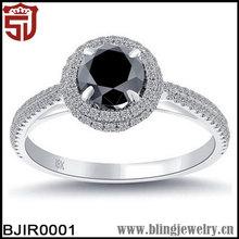 18k Gold Plated Pave Halo Black Zircon Hallmark Engagement Ring